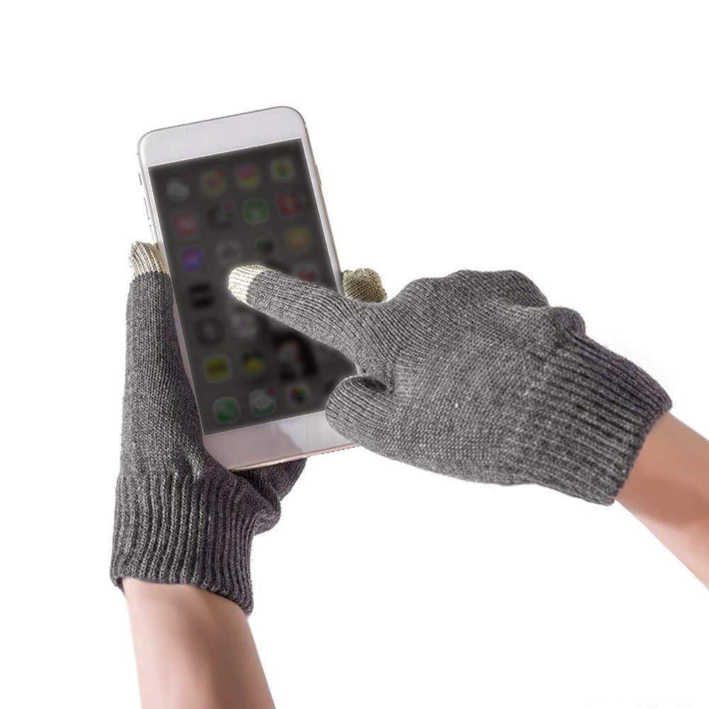 Unisex Knit Screentouch Gloves,Crytech Women Men Solid Color Winter Warm Knitted Touch Screen Full Finger Gloves Mittens Soft Stretch Hand Warmer Gloves for Texting Typing Work