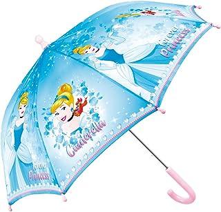 Ombrello Principesse Disney - Con Stampa di Rapunzel e Cenerentola - Ombrello Lungo resistente e antivento - Apertura di sicurezza - 3/5 anni - Azzurro Viola - diametro 66 cm - Perletti (azzurro)