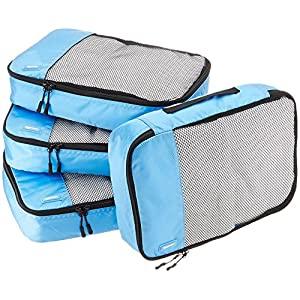 AmazonBasics 4 Piece Packing Travel Organizer Cubes Set – Medium, Sky Blue