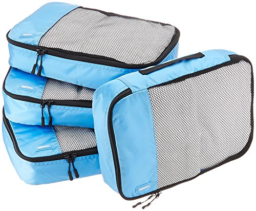 AmazonBasics 4-Piece Packing Cube Set - Medium, Sky Blue