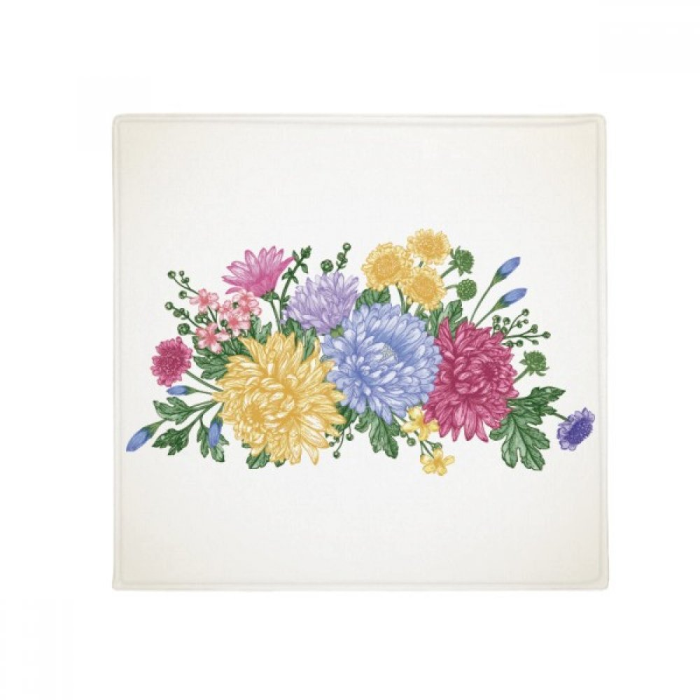 DIYthinker Chrysanthemum Greenery Plant Flower Anti-Slip Floor Pet Mat Square Home Kitchen Door 80Cm Gift