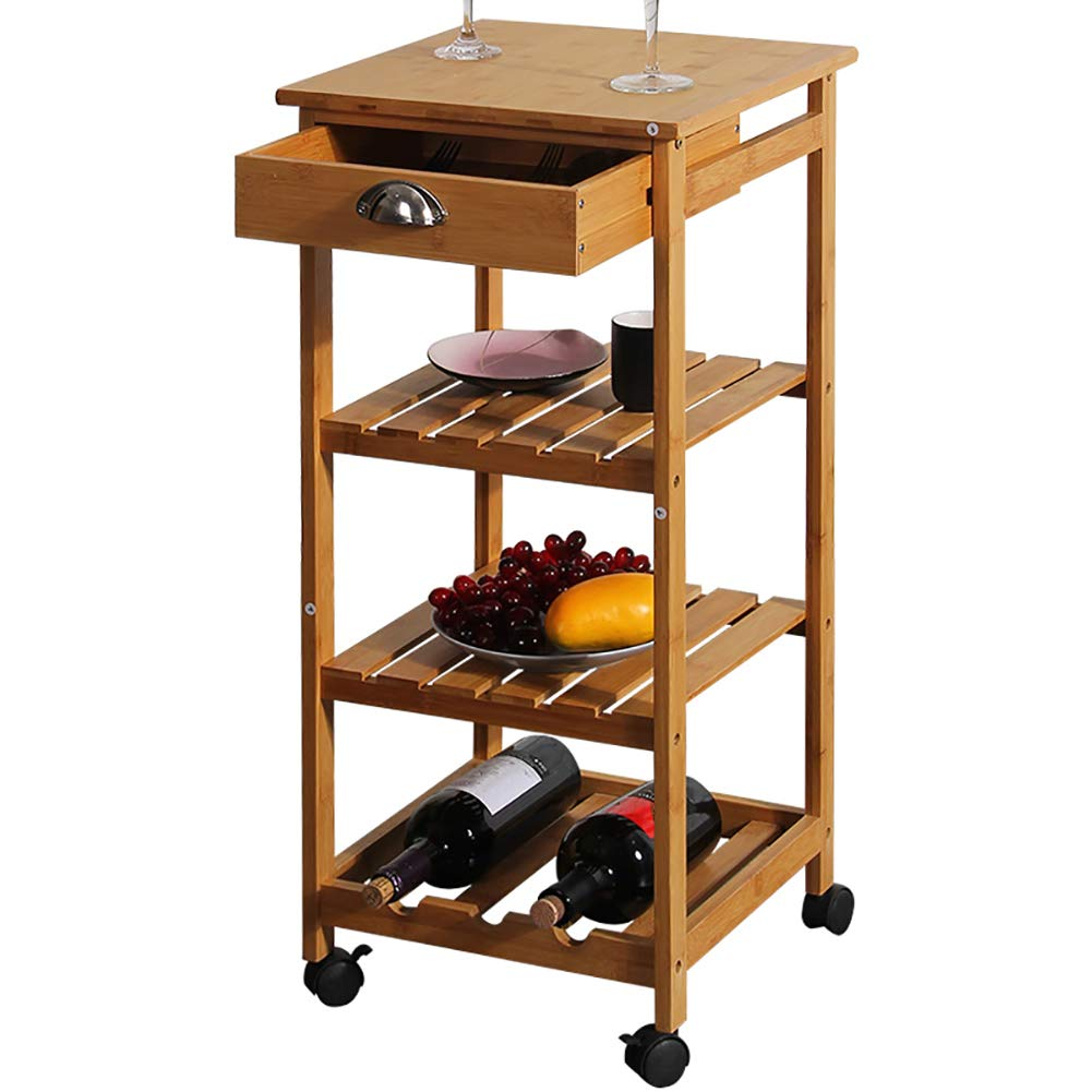 Kitchen Bamboo Multi-Layer Rack, Corner Frame with Wheel Removable Trolley, Seasoning Storage Rack, with Drawer Mesa