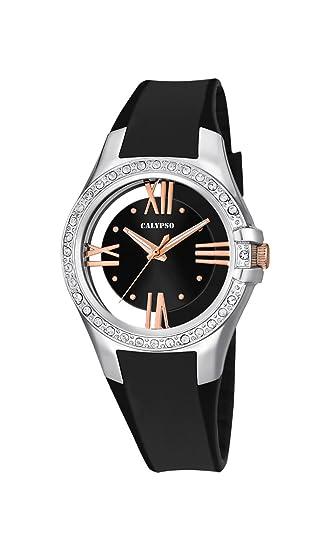Calypso K5680/3 - Reloj de Pulsera Mujer, Plástico, Color Negro: Amazon.es: Relojes