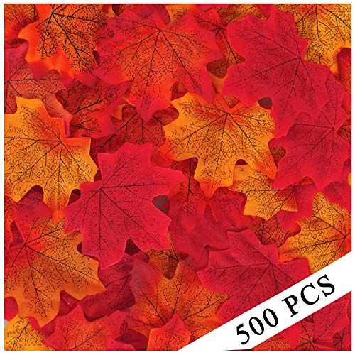 (Xgood 500 Pcs Maple Leaves Artificial Maple Leaf Mixed Colored Assorted Fall Leaves Decorations for Autumn,Wedding,Thanksgiving Party Decor)