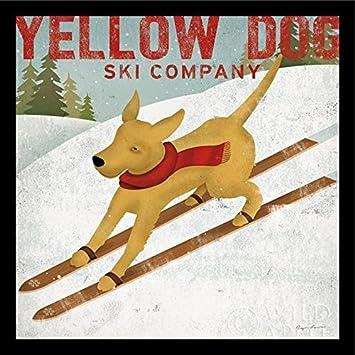 Buyartforless IF WAP 13237 2 Black Plexi Framed Dog Company by Ryan Fowler 27X27 Art Print Poster Vintage Sign Skiing Yellow Labrador Advertising Folk, Multicolor