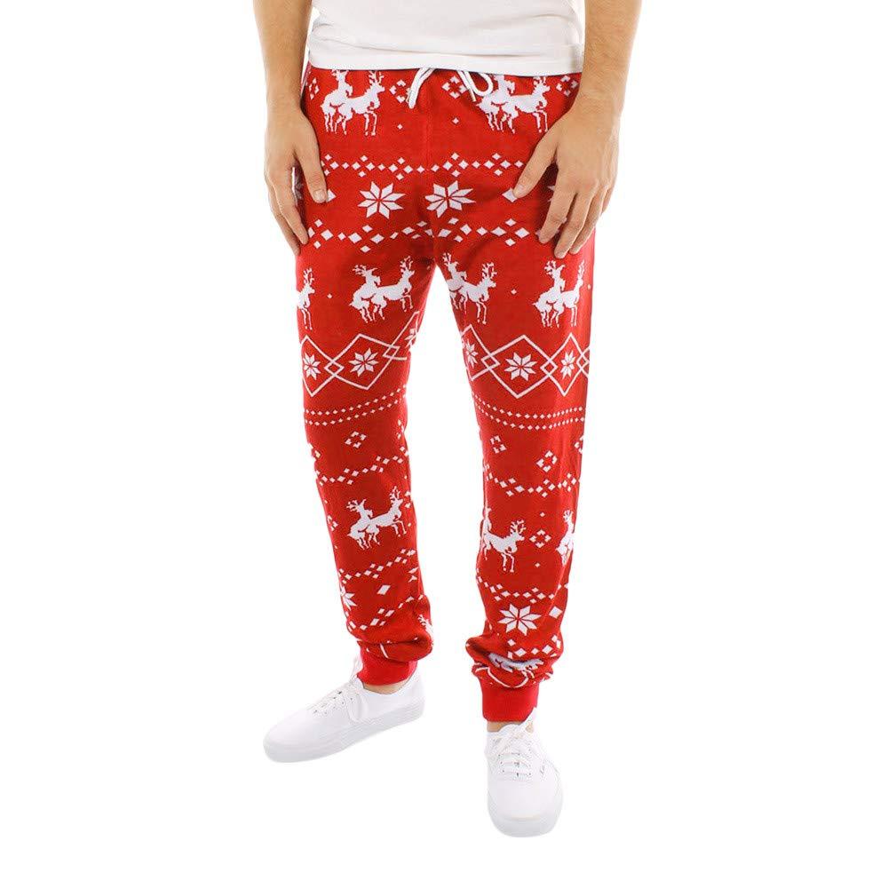 PASATO Clearance Sale!Men's Xmas Christmas Print Drawstring Casual Pants
