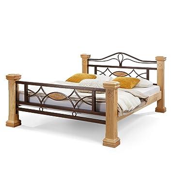 Amazon.de: Massiv Holz Bett ROM Holzbett Natur Farbe in Buche ...