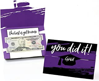 product image for Big Dot of Happiness Purple Grad - Best is Yet to Come - Purple Graduation Party Money and Gift Card Holders - Set of 8