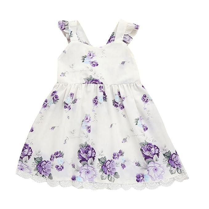 0a016252 K-youth Vestido Bebé Niña Encaje Floral Tutú Princesa Vestido de ...