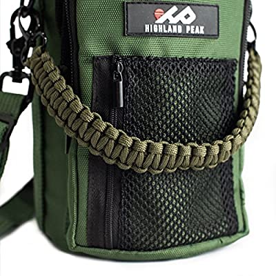 64 oz Sleeve / Pouch with Paracord Survival Carrying Handle by Highland Peak - Adjustable Shoulder Strap - Fits Hydro Flask and Similar Bottles