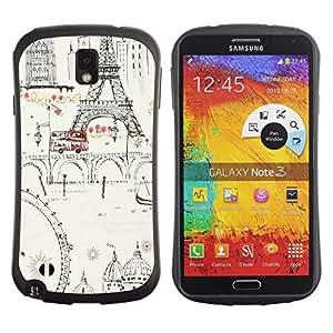 """Pulsar iFace Series Tpu silicona Carcasa Funda Case para Samsung Note 3 , Tinta Noria Torre Eifel de París Europa"""""""