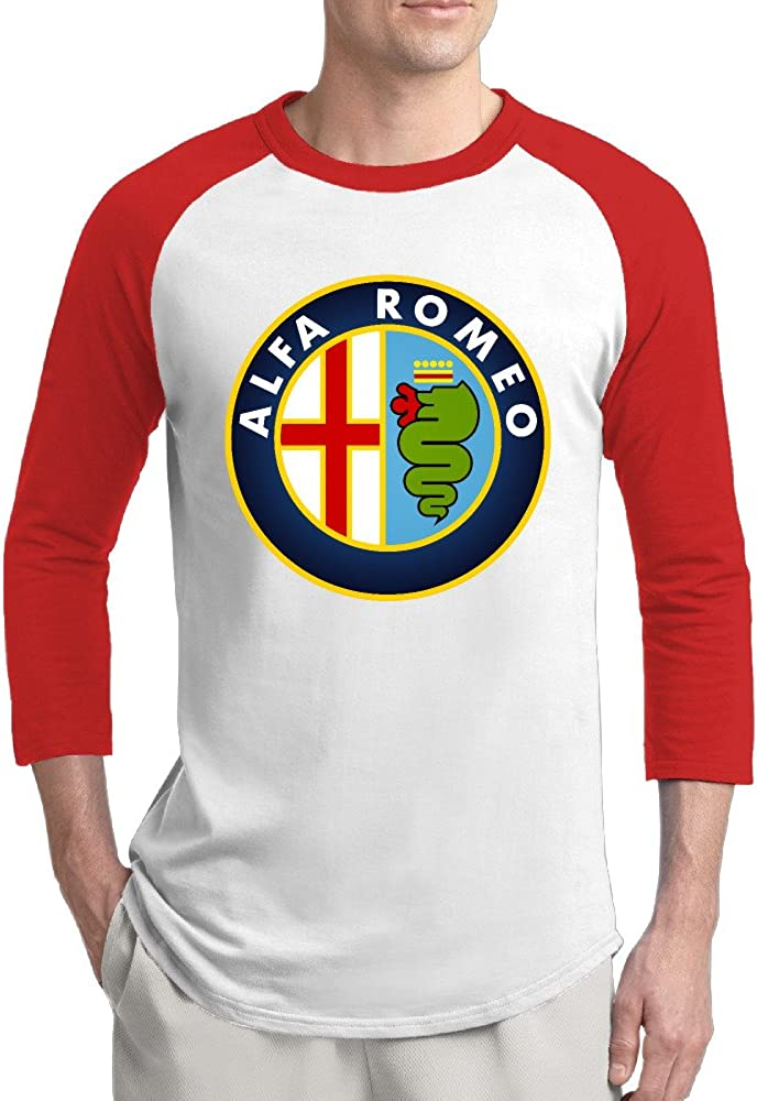 TNJE Men's Designer Car Alfa Romeo Long Sleeve Baseball Raglan Shirt Black