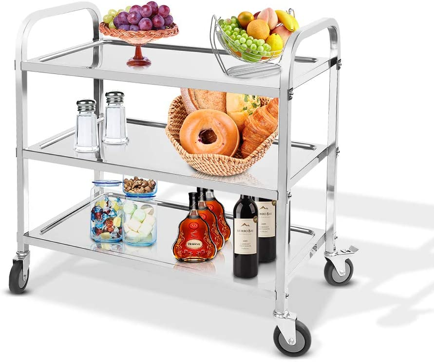 Heavy Duty Commercial Grade Utility Cart Stainless Steel Serving Trolley 3-Tier Food Storage Trolley Display Shelf Service Cart with Wheels