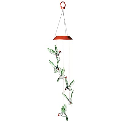 Wind & Weather Six Hummingbird Solar Mobile : Outdoor Figurine Lights : Garden & Outdoor