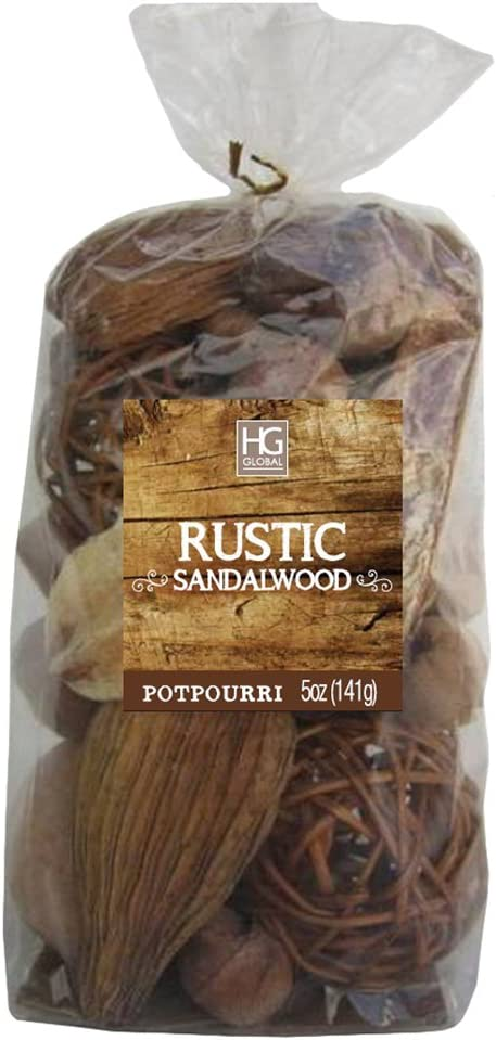 Hosley Rustic Sandalwood Chunky Potpourri- 5 Oz. Perfect for Wedding or Special Occasion; for Everyday use, Wedding, Events, Aromatherapy, Spa, Meditation O4