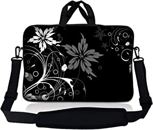 Laptop Skin Shop 8-10.2 inch Neoprene Laptop Sleeve Bag Carrying Case with Handle and Adjustable Shoulder Strap - Black and White Floral Design