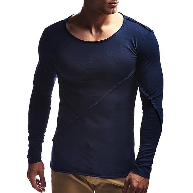 Kinlene Hombre Camiseta Manga Larga Ocasionales Adelgazan El Musculo del Manga Larga Camisas De Las Tapas Basicas: Amazon.es: Ropa y accesorios