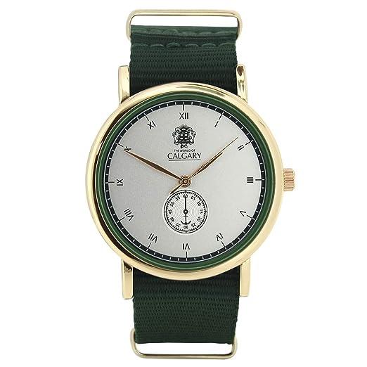 Relojes Calgary Wild Savannah. Reloj Vintage para Mujer y Hombre, Correa de Tela Verde, Esfera Color Gris: Amazon.es: Relojes