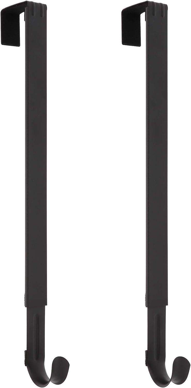 Haute Decor Adapt Adjustable Length Wreath Hanger- 2PACK - Holds up to 20 lbs. (Matte Black)