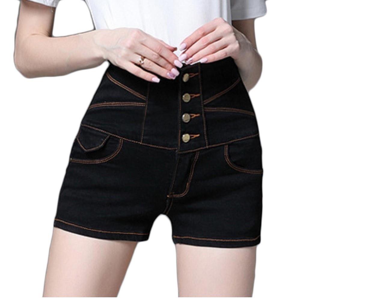 Vska Womens Sexy High Waist Plus Size Slim Fashion All-Match Jean Shorts Black S