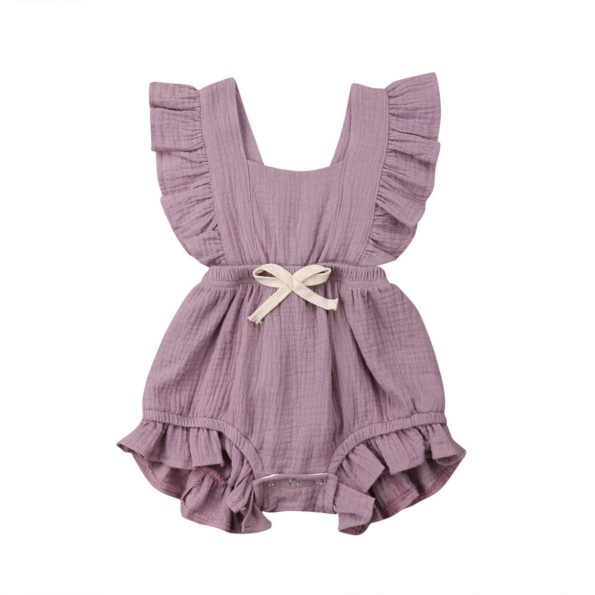 Infant Baby Girl Bodysuit Sleeveless Ruffles Romper Sunsuit Outfit Princess Clothes (Purple, 12-18 Months)