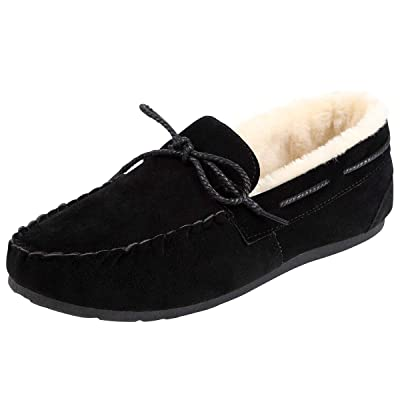 NUOTE Men's Faux Fur Lined Suede House Slippers, Breathable Indoor Outdoor Moccasins Shoes Loafers with Plush Lining   Slippers