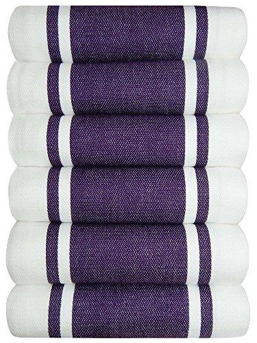 Tiny Break Dish Kitchen Towels Vintage Striped 100% Cotton Tea Towel 20 x 28 inch Set of 6, Eggplant (Towels Dish Purple)