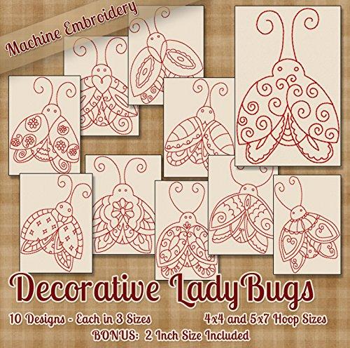 Decorative Ladybugs Redwork Embroidery Machine Designs on CD - 10 Outline Style Designs - 3 Sizes Each - ART ART70 PES JEF EXP XXX VIP HUS DST