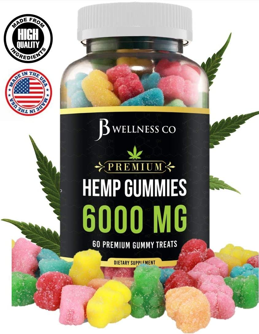 Hemp Gummies Premium – 6000 MG – Relief for Stress, Inflammation, Sleep, Anxiety, and Depression – Vitamins & Omega 3,6,9 – Made in The USA