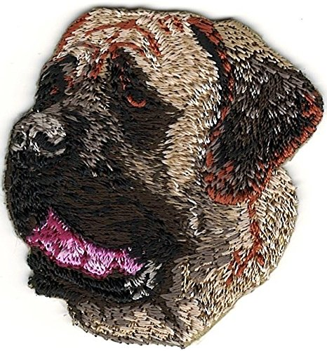 - 2'' x 2 `/8'' English Mastiff Dog Breed Portrait Looking Left Embroidery Patch
