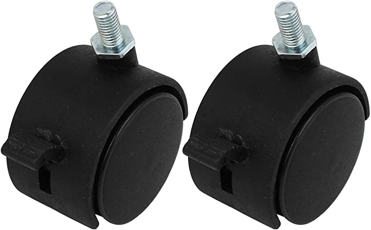 """Plastic 8mm Threaded Stem 2/"""" Dia Double Wheel Swivel Brake Caster Black 2 Pcs"""