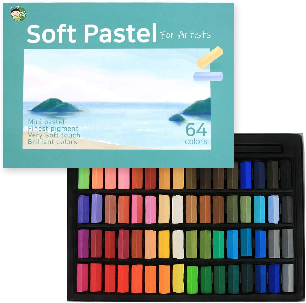 (64 Colors) HASHI Non Toxic Soft Pastels Set for Professional - Square Chalk pastel Assorted Colors