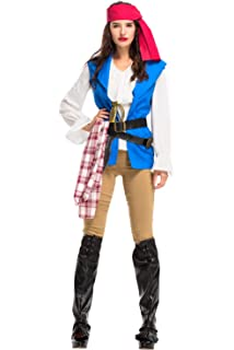 Halloween Pirate Captain Costume High Seas Pirate Fancy Dress for Men Women 7862742d82e3