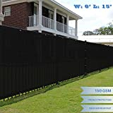 E&K Sunrise 6′ x 15′ Black Fence Privacy Screen, Commercial Outdoor Backyard Shade Windscreen Mesh Fabric 3 Years Warranty (Customized Set of 1