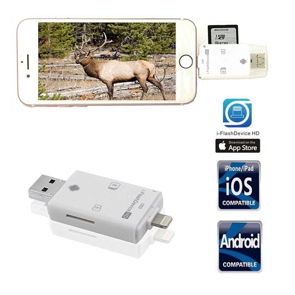 Trail Camera SD Card Reader Viewer- TUOP 3 in 1 Micro SD / TF / SD Card Reader for iPhone / iPad / PC / Android and Samsung Other Smartphone tablet Devices