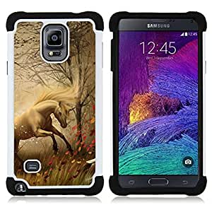 Dragon Case- Dise?¡Ào de doble capa pata de cabra Tuff Impacto Armor h??brido de goma suave de silicona cubierta d FOR Samsung Galaxy Note 4 SM-N910 N910- MIST STALLION HORSE MUSTANG FOG GRASS MANE