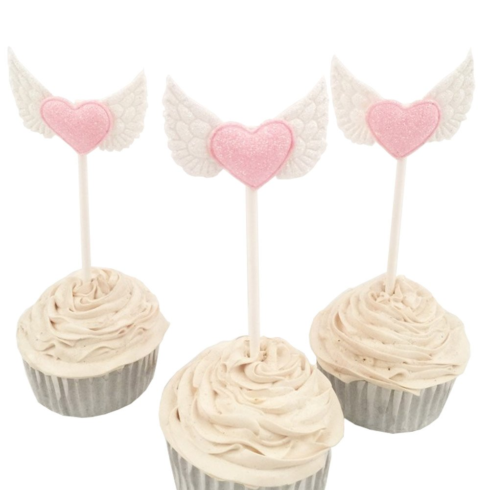 15pcs Blingbling Angel Wing Heart Cupcake Toppers Pink Food Decorations Wedding Party Supplies by Funbase (Image #2)