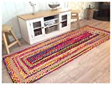 Hand Woven Jute/Cotton Multi Chindi Braided Rug Runner for Kitchen, Living & Bedroom 2X5-Feet, attractive look Review