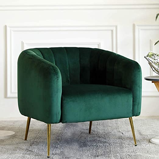 Irene House Modern Accent Chair Style Velvet Upholstered Living Room Accent  Chair with Gold Legs, (Dark Green)