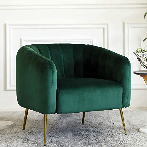 Irene House Modern Accent Chair Style Velvet Upholstered Living Room Accent Chair with Gold Legs, Dark Green