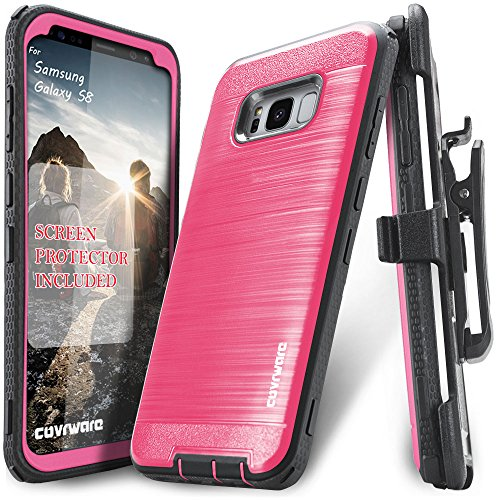 Samsung Galaxy S8 Case, COVRWARE [Iron Tank] + [Screen Protector] Heavy Duty Full-Body Rugged Holster Armor [Brushed Metal Texture] Case [Belt Clip][Kickstand], (Pink Metal Case)