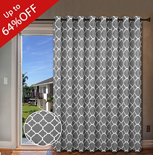 Wide Blackout Patio Door Curtain Home Fashion Window Panel Drapes for Glass Door, 16 Copper Grommets - Grey - 100 inch Wide by 96 inch Long - Moroccan Tile Quatrefoil Pattern (Window Treatment For Patio Doors)