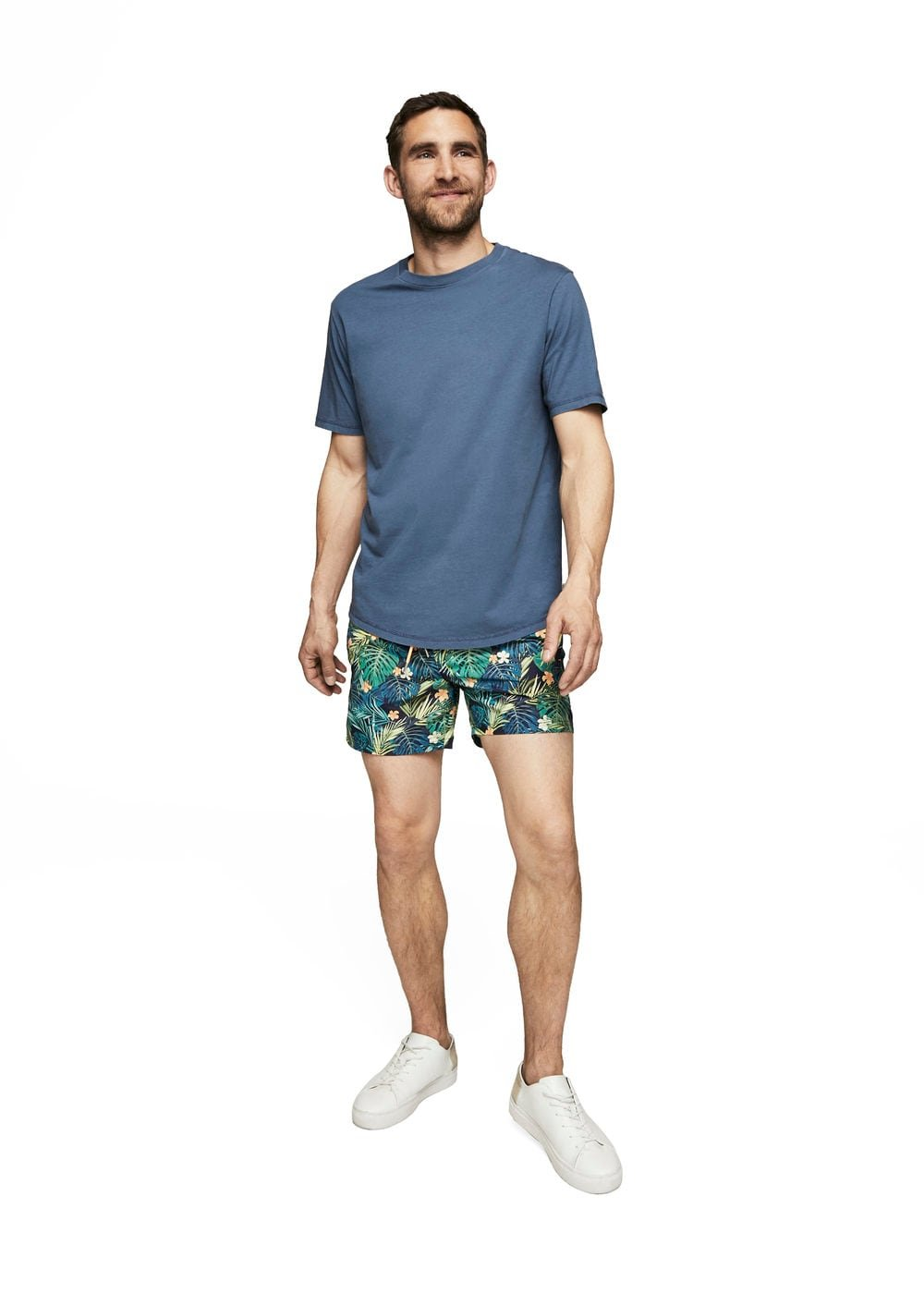 MANGO Men's Tropical Print Swimsuit, Green, XS