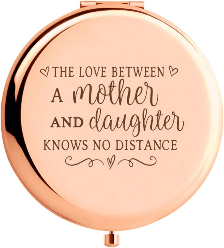 WIEZO-USA Mom Gift from Daughter,Daughter Gift from Mom,The Love Between Mother and Daughter,Birthday Thanksgiving, Travel Rose Gold Mirror Gift