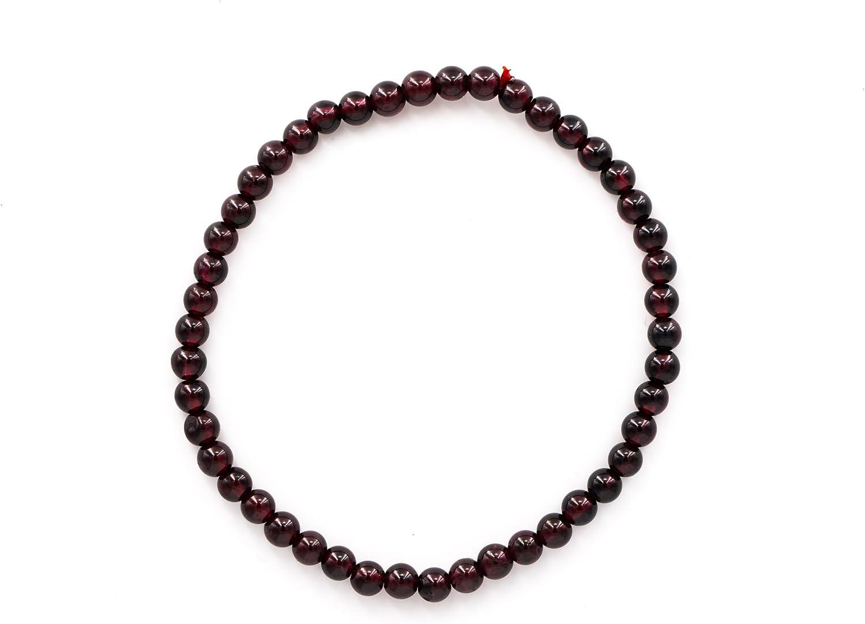 Taddart Minerals – Pulsera marrón de color rojo oscuro de piedra preciosa natural granate con bolas de 4 mm en hilo de nailon elástico – hecha a mano.