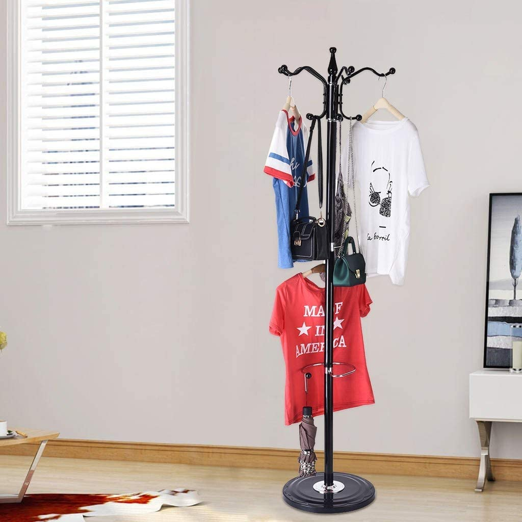 Yliquor Jeeke 15 Hooks Metal Coat Racks Hat Jacket Stand Tree Hanger with Rack Silica Gel Base Vintage Hanging Clothes Hat for Home or Office Hall and Entryway Ship from USA