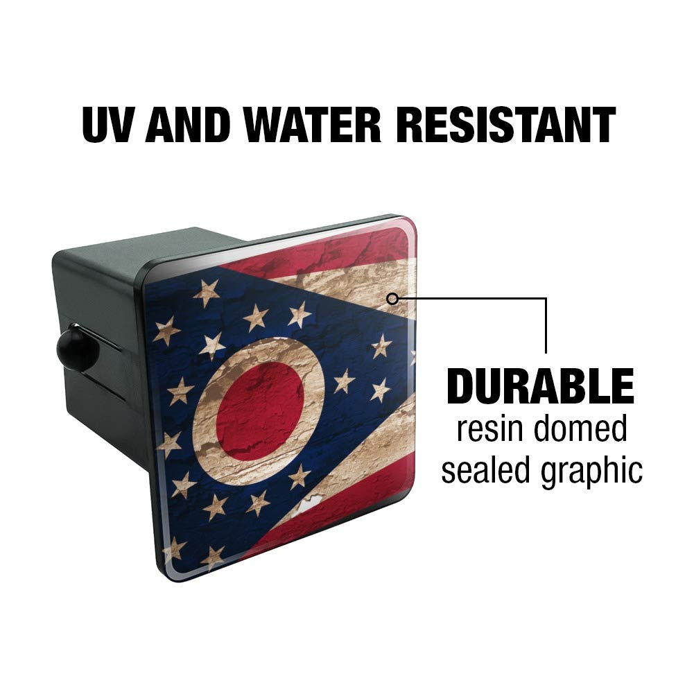 Graphics and More Rustic Distressed Ohio State Flag Tow Trailer Hitch Cover Plug Insert