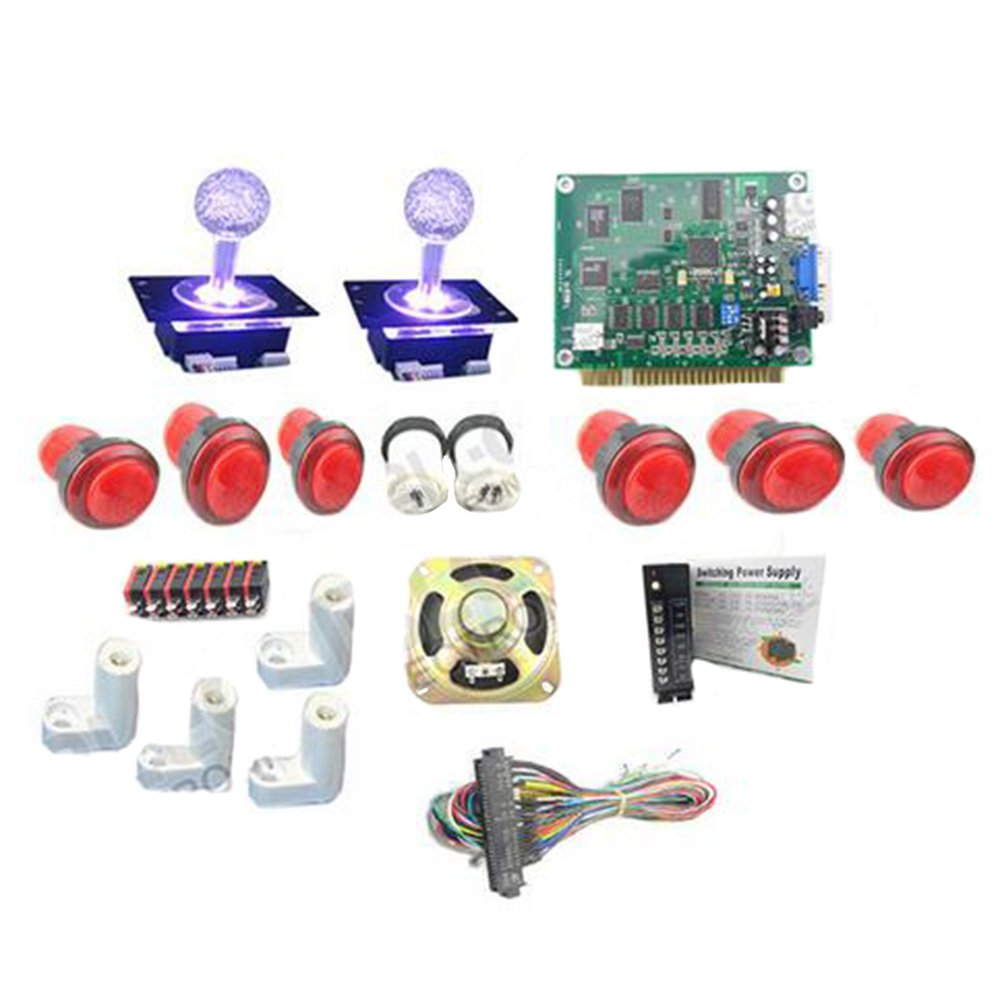 WINIT Classical Arcade Game 60 in 1 16A Power Supply Speaker 6 x Lighted Joystick Lighted Button 1P2P Button Jamma Wire 4 x PCB Feet by Winit