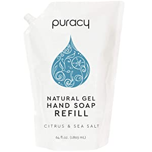 Puracy Natural Gel Hand Soap Refill, Citrus & Sea Salt, Sulfate-Free Liquid Hand Wash, 64 Ounce