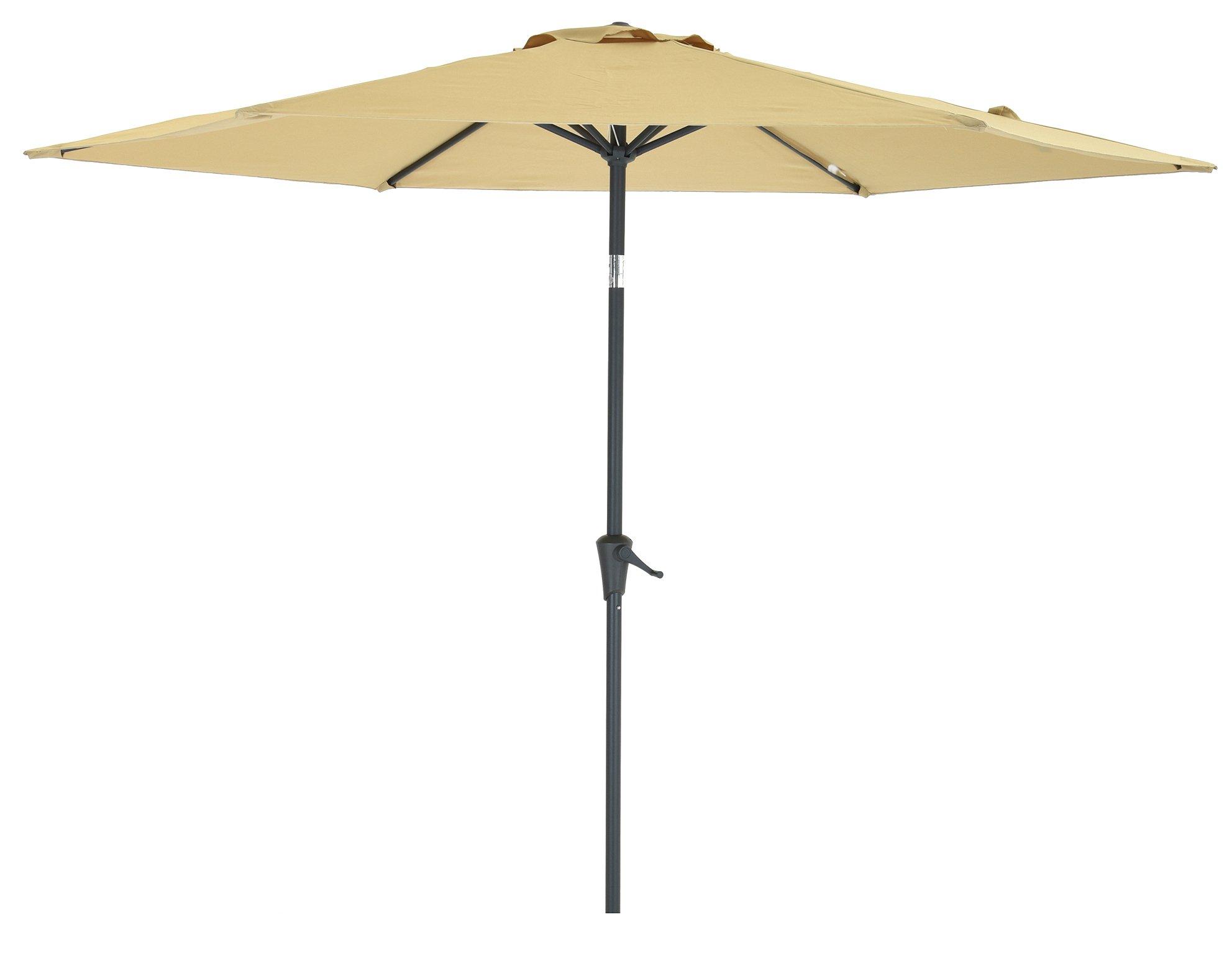 Patio Umbrella 9 Feet Beige, Market Outdoor Waterproof Table Umbrella by SHORFUNE with Push Button Tilt and Crank, Great for Patio, Backyard, Garden, Pool Side